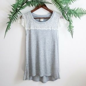 Eloise Anthropologie Gray & Cream Lace Blouse